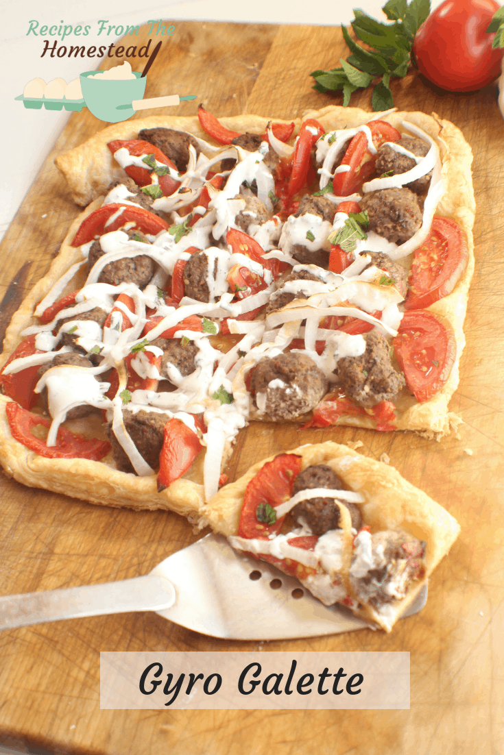 lamb gyro galette on a puff pastry