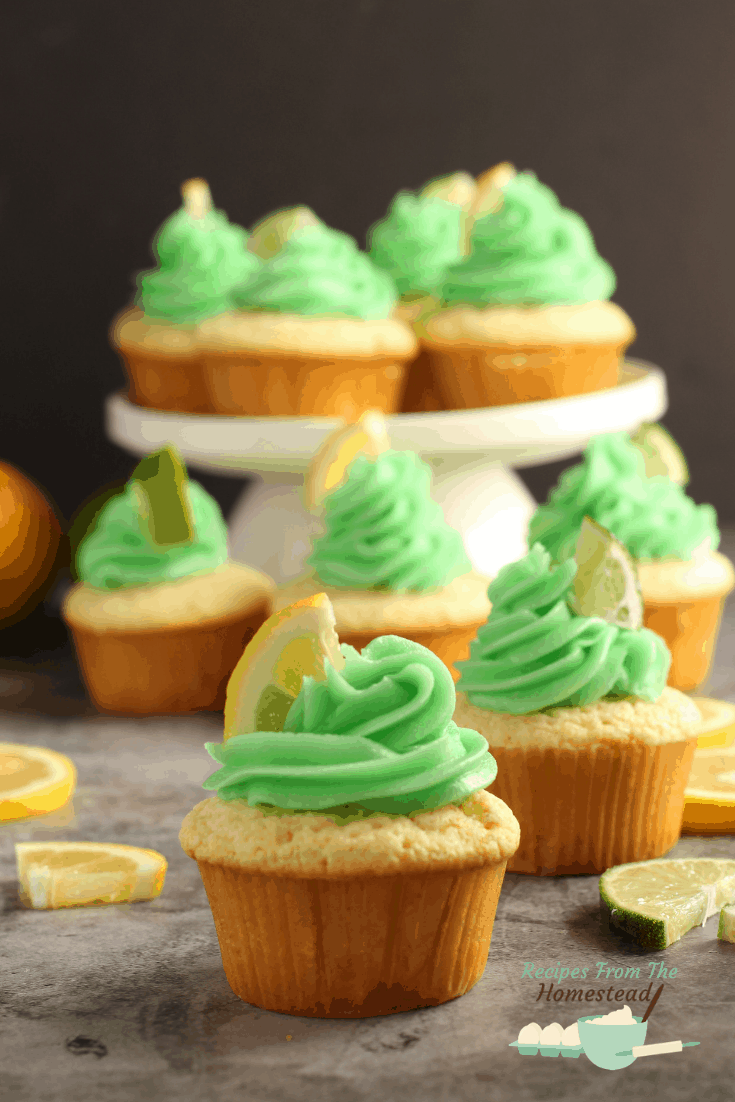 lemon lime cupcakes with green frosting