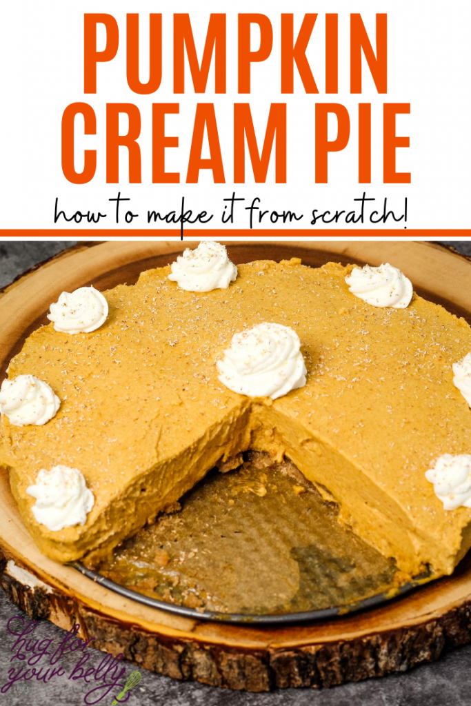 pumpkin cream pie with slices removed