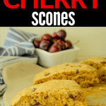 sour cream and cherry scone on baking stone