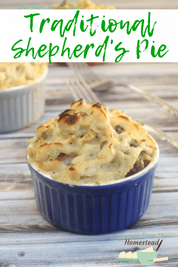shepherds pie in blue dish