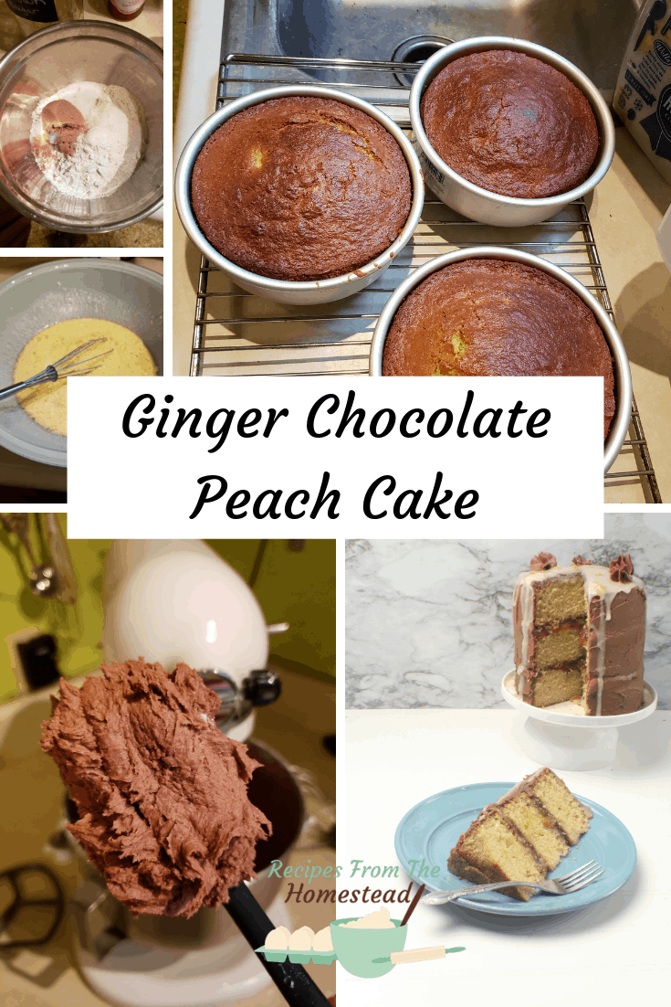 steps to making ginger chocolate peach cake