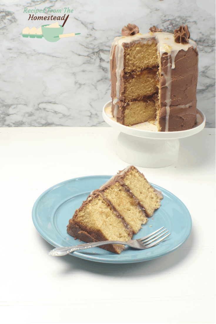 ginger chocolate peach cake