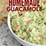 homemade guacamole in white bowl