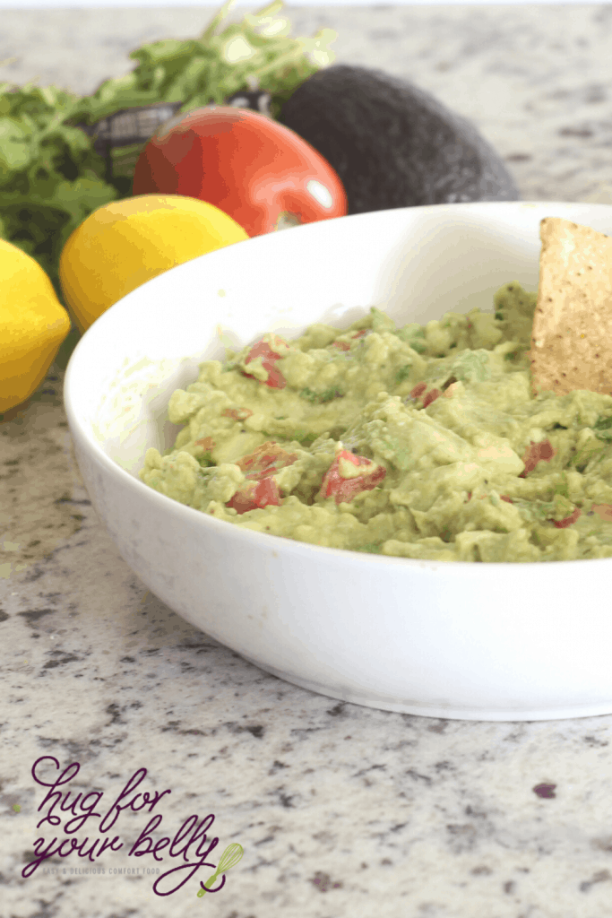 guacamole in a white bowl