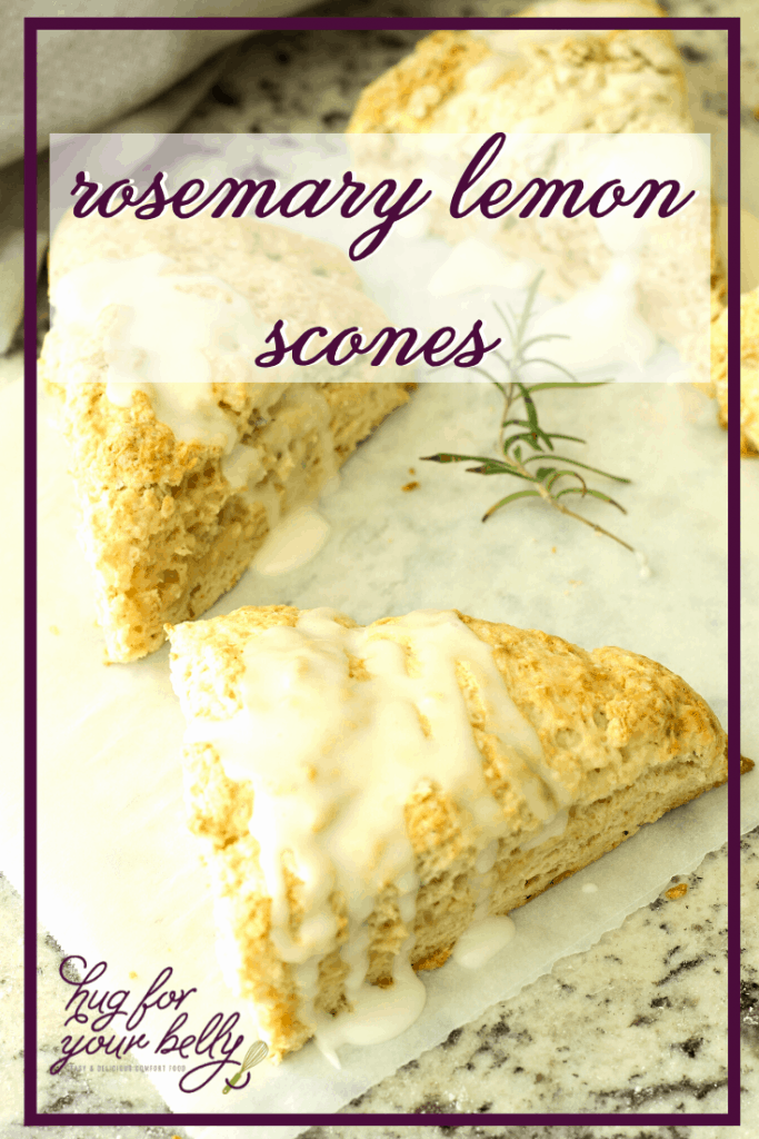 lemon rosemary scone on parchment paper