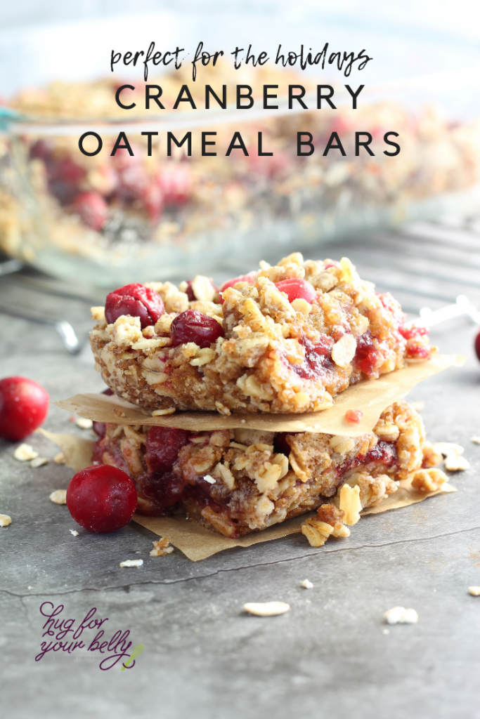 cranberry oatmeal bars stacked