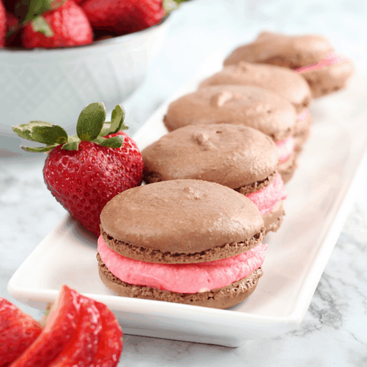 chocolate covered strawberry French macarons