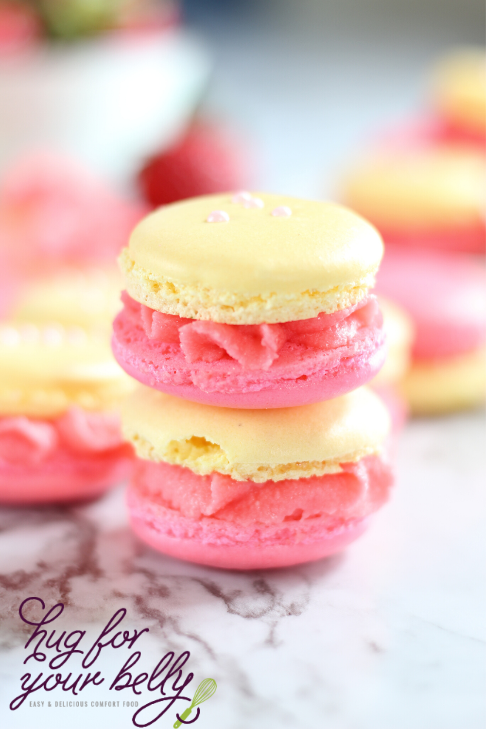 Strawberry Lemonade Macarons Hug For Your Belly