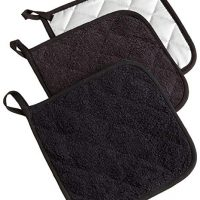DII, Cotton Terry Pot Holders, Heat Resistant and Machine Washable, Set of 3, Black