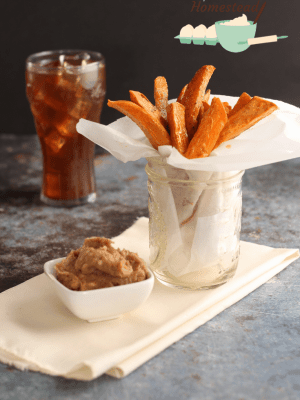 spicy sweet potato fries with cinnamon butter and coke