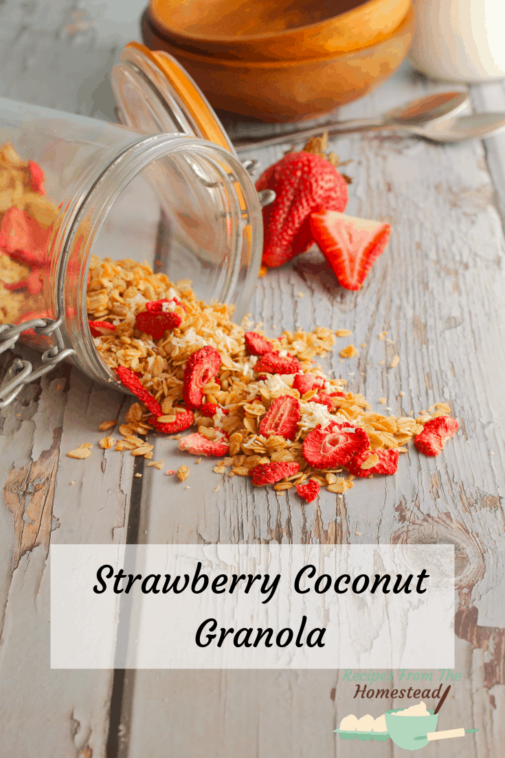 strawberry coconut granola splling out of jar