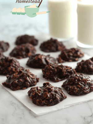 no bake cookies on parchment paper with milk