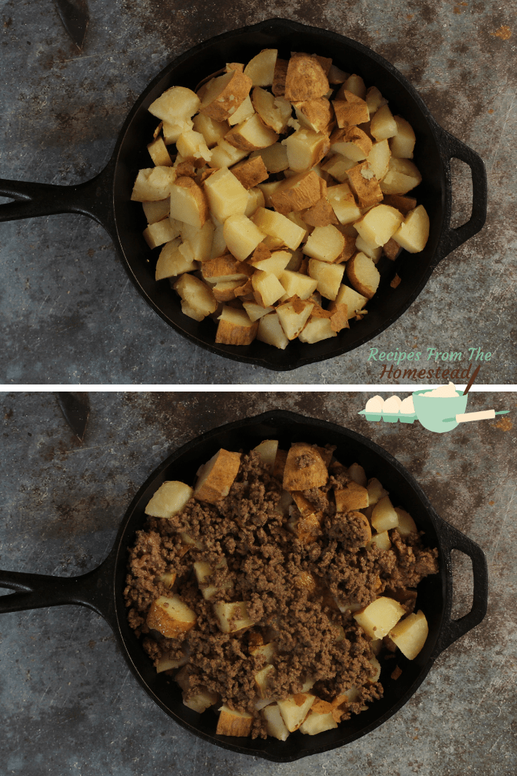 potatoes in cast iron skillet, then covered with taco meat