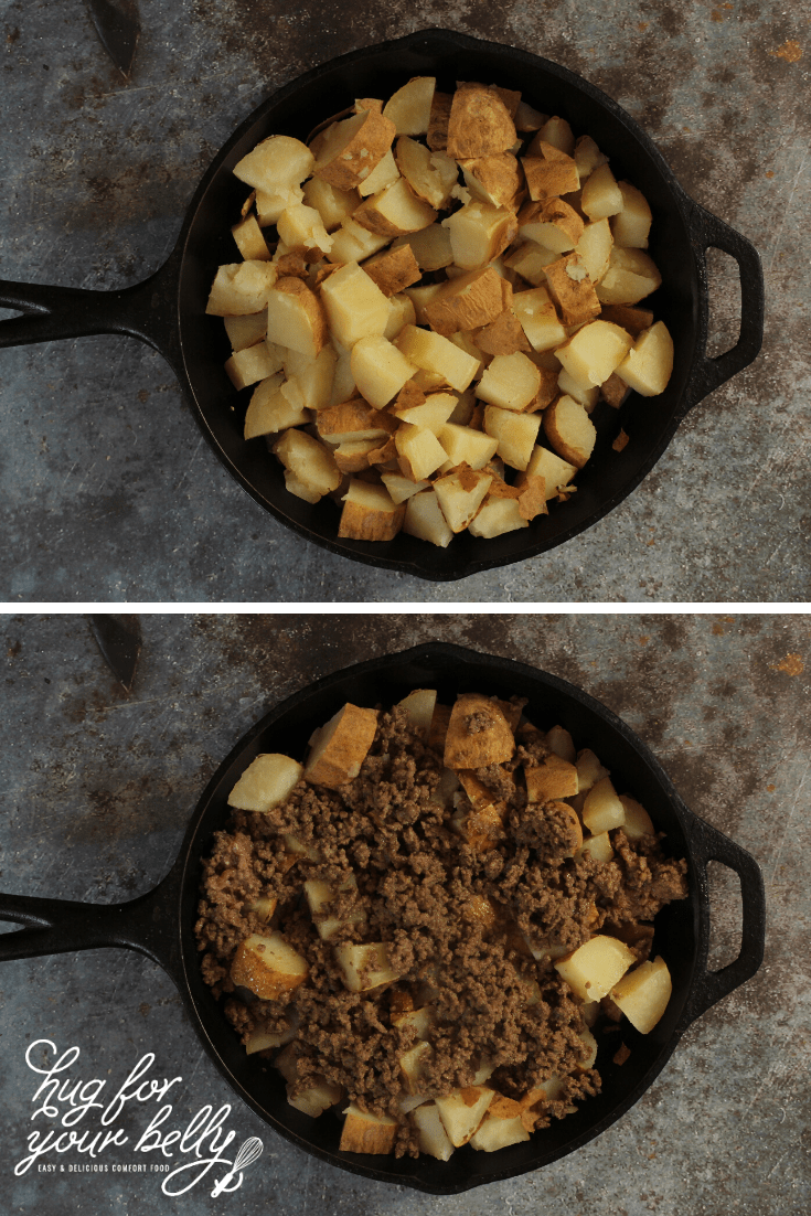 potatoes and potatoes with taco meat