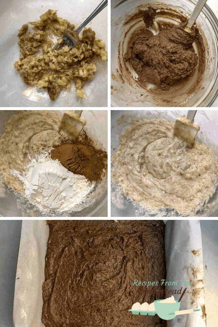 process of making peanut butter banana brownies