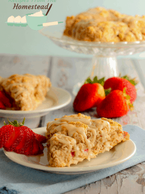 strawberry scones on white plates