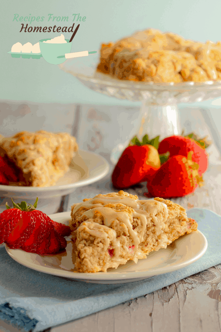 strawberry scones on white plates