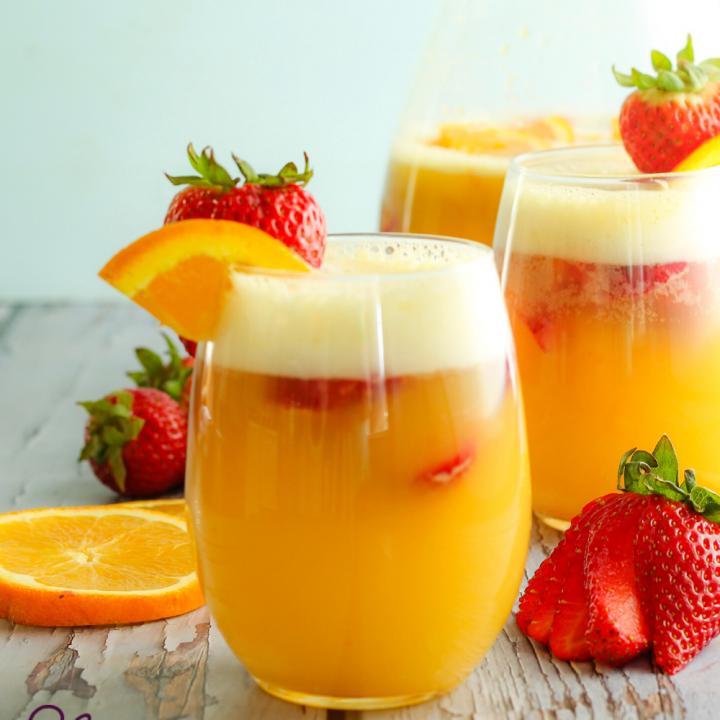 Strawberry Orange Mimosa Mocktail