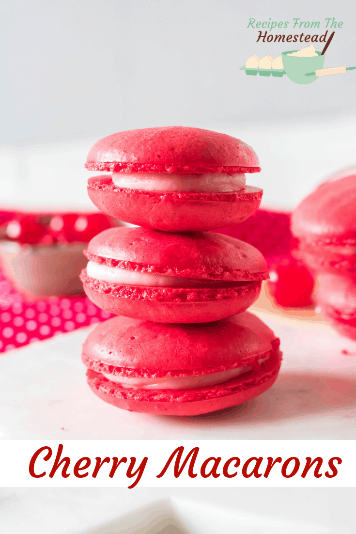 3 cherry macarons stacked