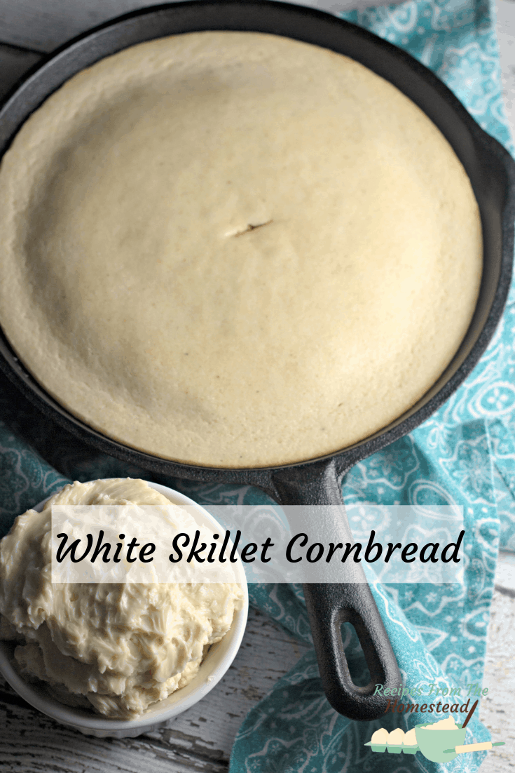white skillet cornbread in cast iron skillet