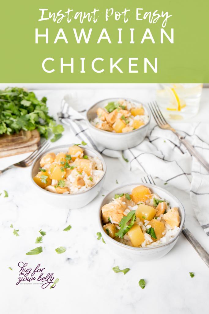 hawaiian chicken in white bowls