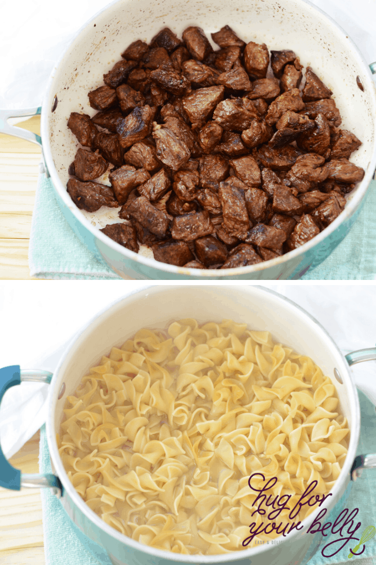 making sirloin steak and cooking noodles for beef stroganoff