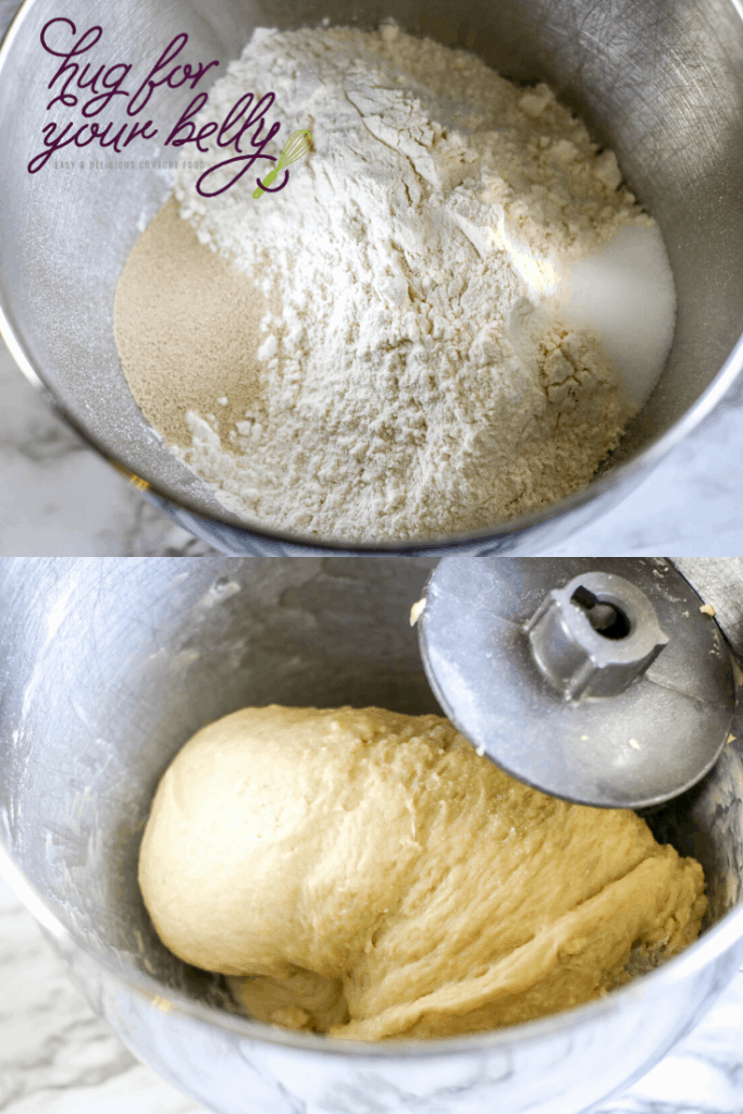 kneading challah bread dough