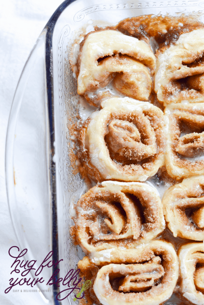cinnamon rolls in baking dish