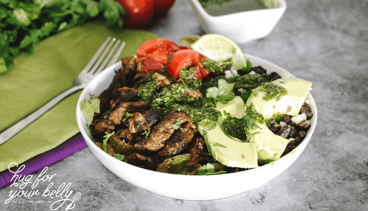 steak fajitas in a bowl
