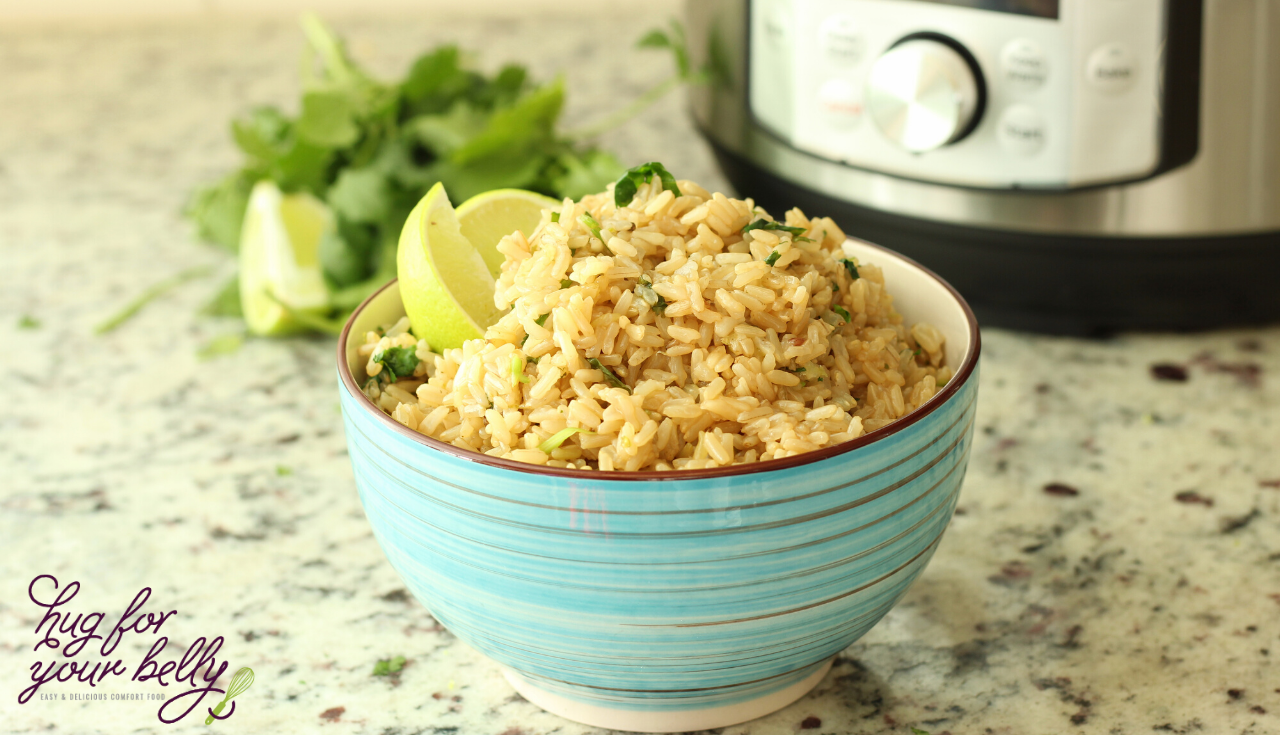 cilantro lime rice in blue bowl