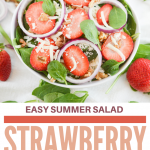 strawberries, spinach, red onions in white bowl
