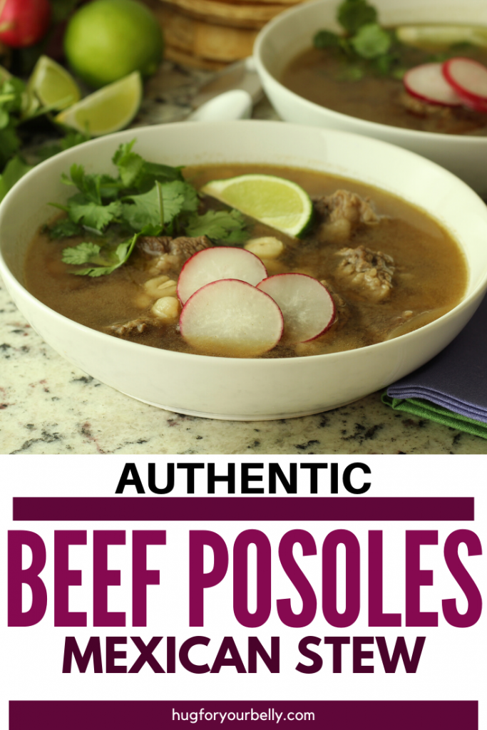beef posole in a white bowl