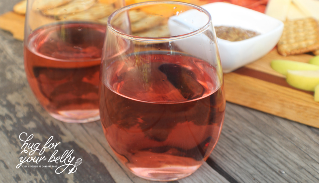 strawberry wine in stemless wine glasses
