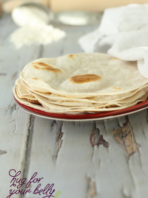 tortillas on red plate