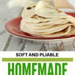 flour tortillas folded on red plate