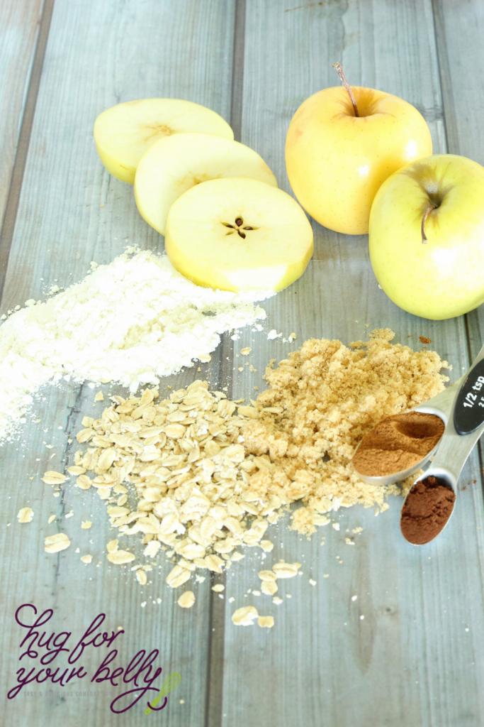 ingredients for apple crisp on wooden background