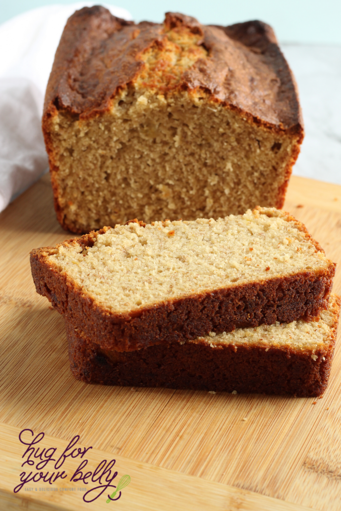 banana bread loaf with a slice showing