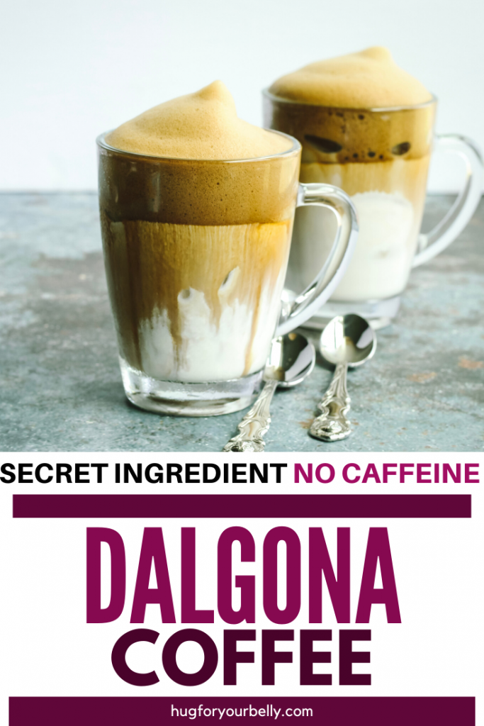 dalgona coffee in clear glass mugs