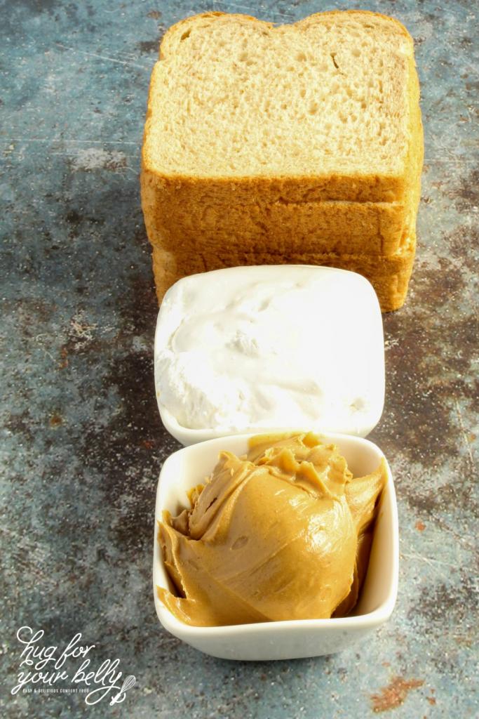 bread, marshmallow fluff, peanut butter