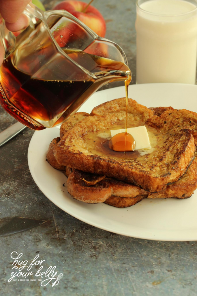 syrup being poured on french toast