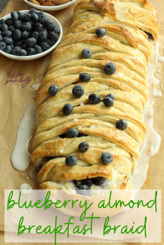 blueberry almond breakfast braid on cutting board