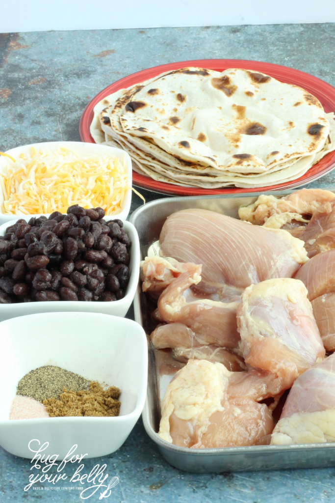 ingredients for black bean and chicken quesadillas