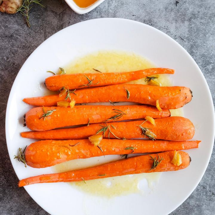 Rosemary Honey Ginger Glazed Carrots