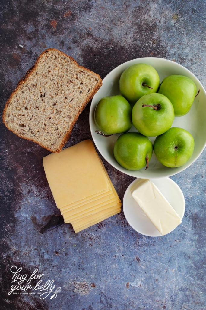 ingredients for apple grilled cheese