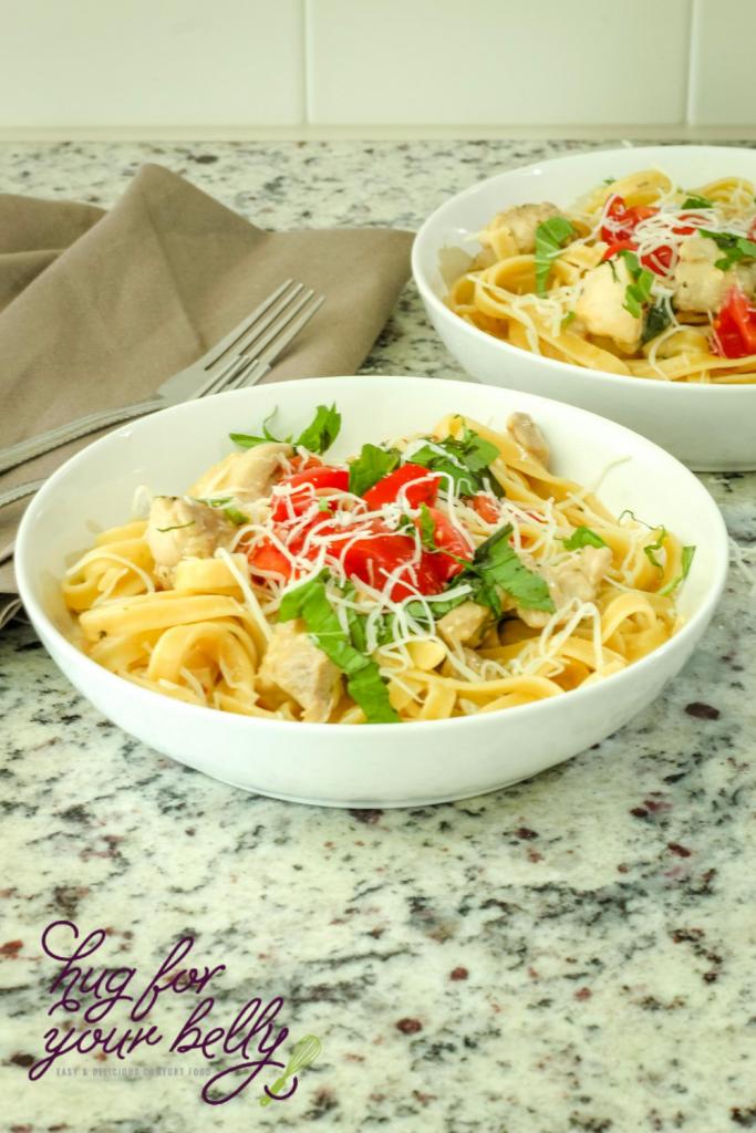 one pot chicken pasta in bowls