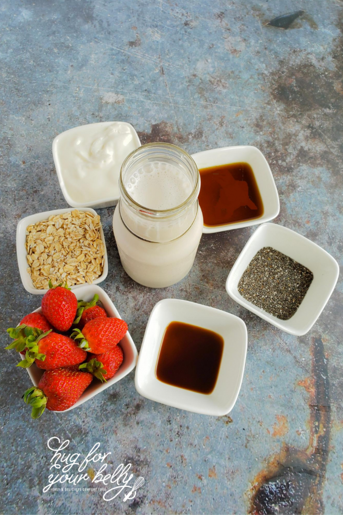 ingredients for strawberry chia overnight oats