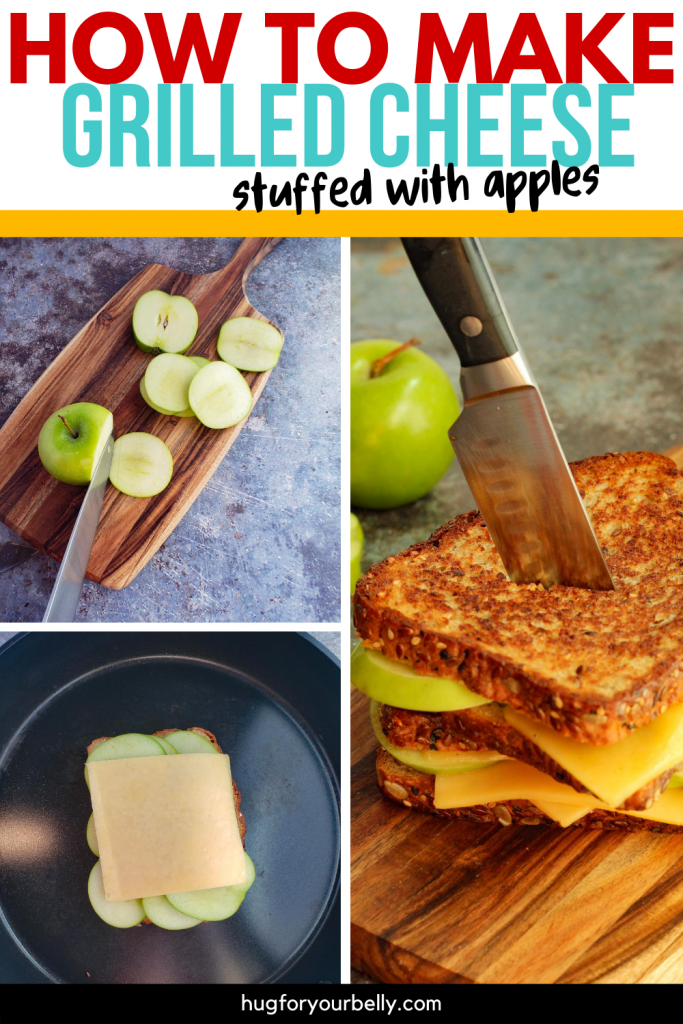 making apple grilled cheese