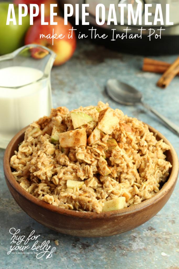 apple pie oatmeal in wooden bowl