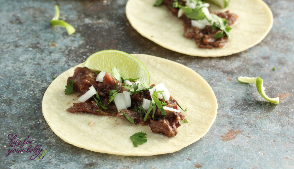 barbacoa tacos with corn tortillas